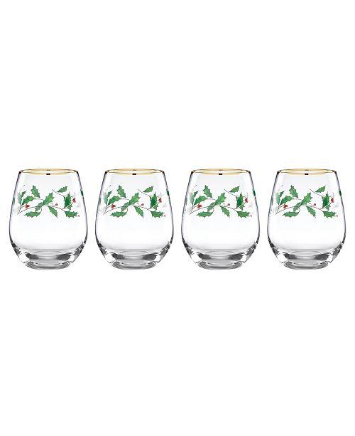 Lenox Holiday Set of 4 Stemless Wine