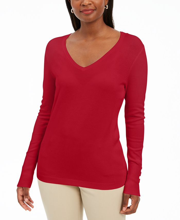 JM Collection - Button-Cuff Pullover Sweater