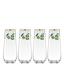 Holiday Set of 4 Stemless Flute