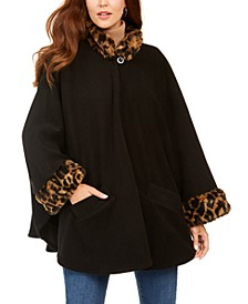 Lux Fleece Cape With Faux-Fur Trim
