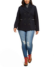 Juniors' Plus Size Double-Breasted Peacoat