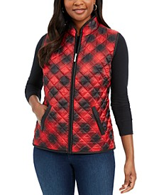 Petite Plaid Puffer Vest, Created For Macy's