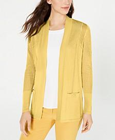 Malibu Pointelle Open-Front Sweater