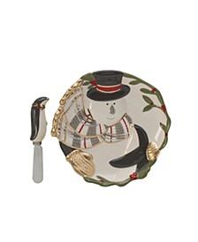 Fitz & Floyd Mistletoe Merriment Snack Plate