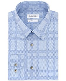 Men's STEEL Classic/Regular Fit Non-Iron Performance Stretch Check Dress Shirt