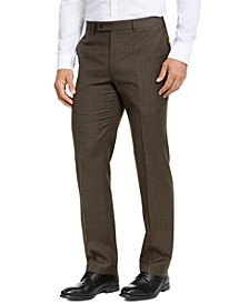 Men's Classic-Fit Stretch Brown/Blue Plaid Flannel Dress Pants