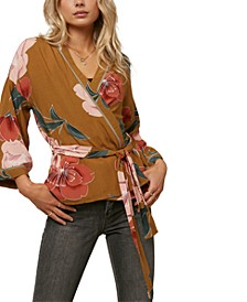 Juniors' Embry Floral-Print Wrap Top