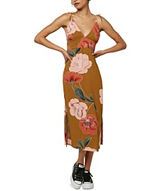Juniors' Mallorie Floral-Print Midi Dress