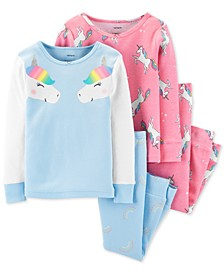 Toddler Girls 4-Pc. Cotton Unicorn Pajamas Set