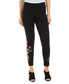 Petite Floral-Embroidered Leggings, Created For Macy's