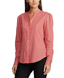 Lauren Ralph Lauren Stripe-Print Puff-Sleeve Cotton Shirt