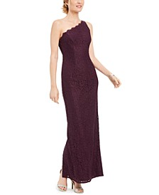 One-Shoulder Lace Gown