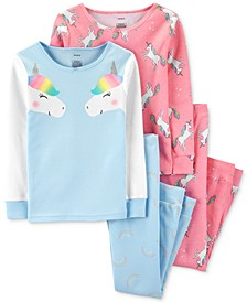 Little & Big Girls 4-Pc. Cotton Unicorn Pajama Set