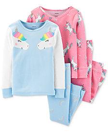 Carter's Baby Girls 4-Pc. Cotton Unicorn Pajamas Set