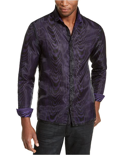 INC International Concepts INC ONYX Men's Sheer Overlay Tiger Print Shirt, Created for Macy's