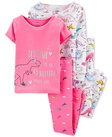 Little & Big Girls 4-Pc. Cotton Dinosaurs Pajamas Set