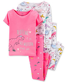 Carter's Little & Big Girls 4-Pc. Cotton Dinosaurs Pajamas Set