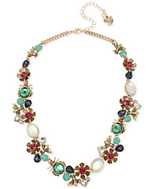 "Betsey Johnson Gold-Tone Stone Bug & Flower Cluster Collar Necklace, 16"" + 3"" extender"