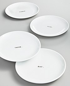 Whiteware Words Set of Four Tidbit Plates, Created for Macy's