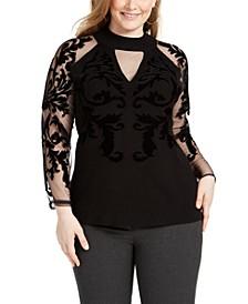 INC Plus Size Velvet-Flocked Mesh-Sleeve Sweater, Created for Macy's