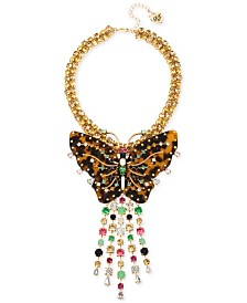 "Betsey Johnson Gold-Tone Tortoise-Look Butterfly Stone Fringe Pendant Necklace, 16"" + 3"" extender"