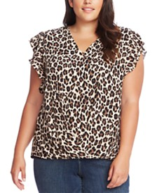 Vince Camuto Plus Size Printed Flutter-Sleeve Top