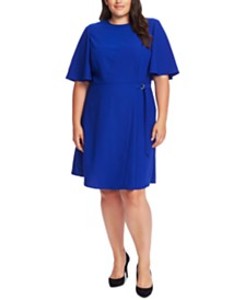 Vince Camuto Plus Size Flutter-Sleeve Side-Tie A-Line Dress