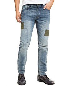 Men's Slim-Fit Patched Jeans, Created For Macy's