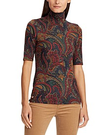 Petite Paisley-Print Stretch Turtleneck Top
