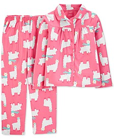 Little & Big Girls 2-Pc. Llama-Print Fleece Pajama Set