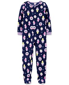 Little & Big Girls 1-Pc. Unicorn-Print Fleece Footed Pajamas