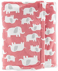 Baby Girls Elephant-Print Plush Blanket