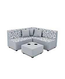 Kangaroo Trading Co. Kid's 7 Piece Sectional Set - Freehand Storm Twill with Pebbles