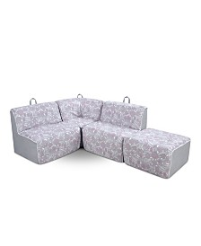 Kangaroo Trading Co. Kid's 4 Piece Foam Sectional, Tribal Pebbles and Pebbles