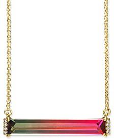 "Pavé & Ombré Crystal Pendant Necklace, 17"" + 3"" extender"