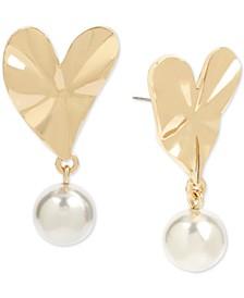 Gold-Tone Imitation Pearl & Heart Drop Earrings