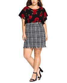 City Chic Trendy Plus Size Bouclé Skirt