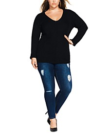 Trendy Plus Size V-Neck Sweater