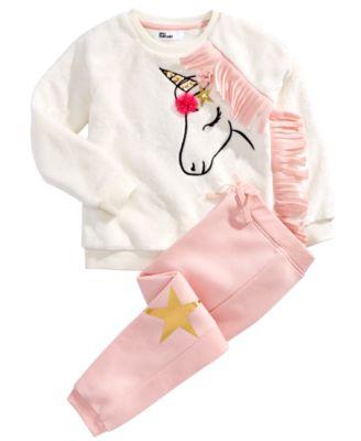 Little Girls 2-Pc. Unicorn Sweatshirt & Jogger Pants Set, Created For Macy's