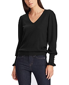 Lauren Ralph Lauren Petite Buttoned-Cuff Long-Sleeve Sweater