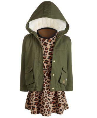 Little Girls Cheetah-Print Sweatshirt Dress, Created for Macy's