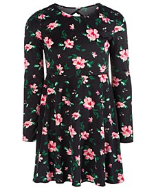 Big Girls Floral-Print Velvet Dress, Created For Macy's