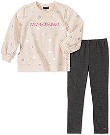 Little Girls 2-Pc. Metallic-Dot Sweatshirt & Leggings Set