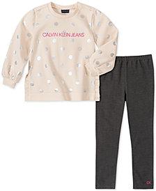 Calvin Klein Toddler Girls 2-Pc. Metallic-Dot Sweatshirt & Leggings Set