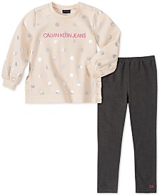 Calvin Klein Little Girls 2-Pc. Metallic-Dot Sweatshirt & Leggings Set