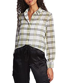 Plaid-Print Blouse