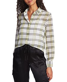 1.STATE Plaid-Print Blouse