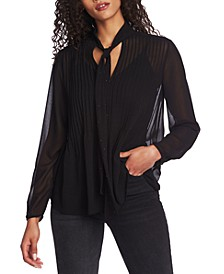 Tie-Neck Pintuck Blouse
