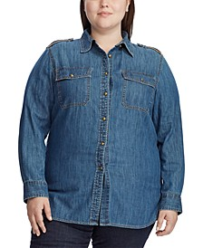 Plus Size Cotton Denim Button-Down Shirt