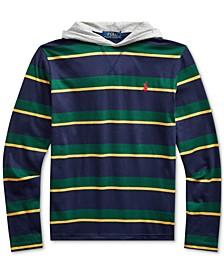 Big Boys Navy Stripes Hooded T-Shirt